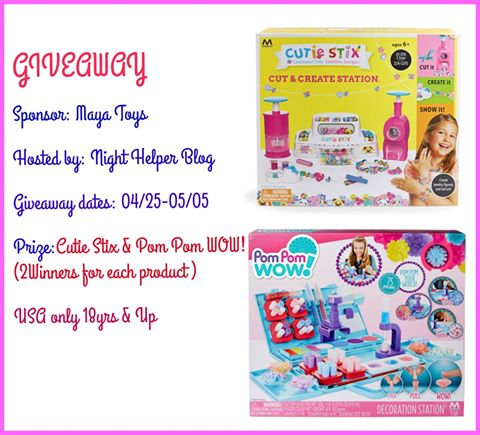 Two WINNERS will win Cutie Stix & Pom Pom WOW